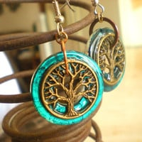 Tree of Life Earrings: Turquoise Blue - Tree Jewelry - Spring Fashion - Unique Jewelry - Washer Earrings