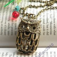 Pretty retro copper hollow out owl with red beads necklace pendant vintage style