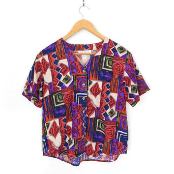 Vintage 90s Colorful Abstract Print Women's Blouse - Size Small - Oversized Raw Silk Jewel Tone Short Sleeve V Neck Top Shirt