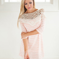 Classic Beauty Top in Peach with Stripes