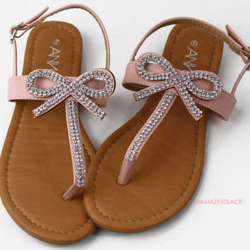 Bowing Out Pink Rhinestone Bow Sandals
