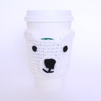 Crochet coffee cozy polar bear cup sleeve