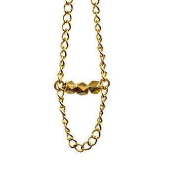 Long geometric necklace, layering necklace, geo necklace, chunky gold necklace