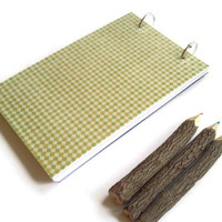 Handmade journal, decorative notebook, diary, sketchbook notepad, personal jotter, blank unlined pages laminated binder gold yellow checkers