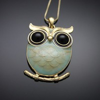 B13So Cute Black Eyed Mint Owl Pendant Necklace by Dalcomi on Etsy