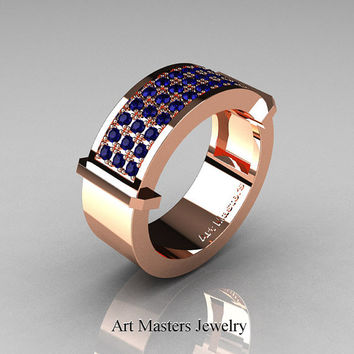 Gentlemens Modern 14K Rose Gold 33 Stone Blue Sapphire Ring MR184-14KRGBS
