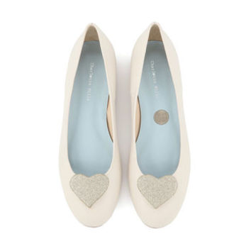 Anabel Heart Detail Flat Wedding Shoes