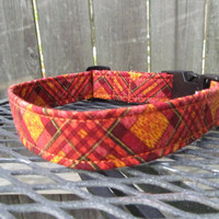 Dog Collar - MADE TO ORDER Fall Harvest Orange Plaid Dog Collar -  Halloween, Fall Dog collar