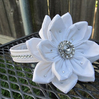 Dog Collar and Flower - Made TO ORDER Wedding Pure white Flower and Collar with Swarvoski Accents on both