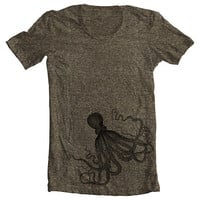 Unisex T shirt - OCTOPUS - Men&#x27;s Women&#x27;s American Apparel Tshirt - Coffee (9 COLORS) - Sizes xs, s, m, l, xl - (gct)