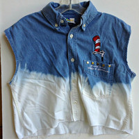 Ombre Denim Jean Shirt Cat in the Hat Universal Studded Top Size S-M