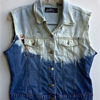Ombre Denim Vest Bleached Jean Jacket Dip Dyed Size Medium