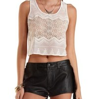 Sheer Embroidered Chiffon Crop Top by Charlotte Russe - Ivory