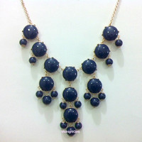 Free Necklace W/ Purchase: Bubble Necklace, Bubble Statement Necklace, Navy Bubble Necklace, J Crew Inspired, Navy Necklace,
