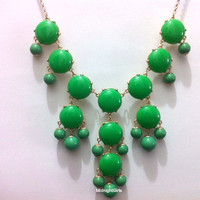 Free Necklace W/ Purchase, Bubble Necklace, Bubble Statement Necklace,  Green Bubble Necklace, J Crew Inspired, Green Necklace,