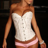 White Wedding Corset with Lace and Ribbon Trim Corset Tops