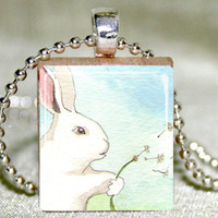 Make A Wish Bunny Scrabble Pendant .. on Luulla