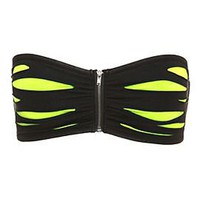 Black Lime Green Slash Bandeau Bra - 178379