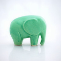 Elephant  ceramic figurine in mint green