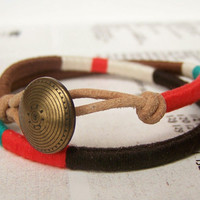 COOPER double wrap bracelet textile leather by OrangeistheSun