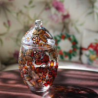 Hand Painted Glass Jar With Lid, Go.. on Luulla