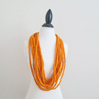 Chunky Chain Scarf, Carrot Orange Scarf Halloween Pumpkin Orange, Rustic Copper Orange, Bright Spice Gift, Long Chunky Necklace