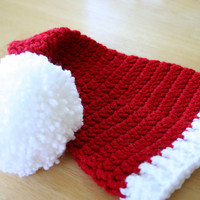 Christmas Santa Hat, baby boy or baby girl, red with white, Newborn to 12 months, newborn photo prop