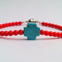 Sideways Turquoise Blue Stone Cross Bracelet with Red Czech Glass Beads, Magnetic Closure