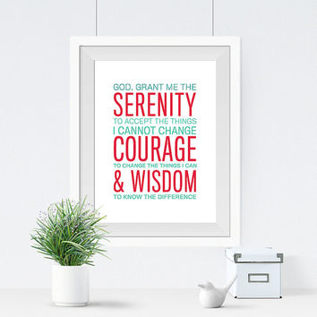 Serenity Prayer - Christian Typography - Religious Art Print - Wall Decor - Subway Print