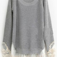 Pretty Lace Round Neck Gray Sweater S004613