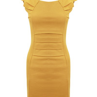 Pleated Front Detail Cap Sleeve Shift Dress-Mustard