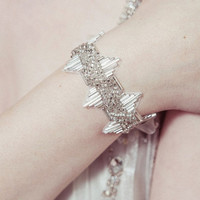 Delores - Deco beaded Great Gatsby/Downton silver cuff
