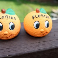 The Sunshine State...Florida Oranges ...Vintage salt & pepper shakers...Unique Kitchen