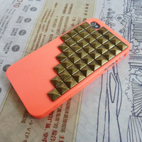Fashion Orange iPhone 4,4S hard Case Cover with bronze pyramid stud For iPhone 4 Case, iPhone 4S Case,iPhone 4 GS case -043