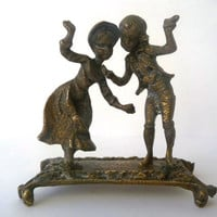Vintage Brass Figure /// Boy and Girl Dancing /// Metal