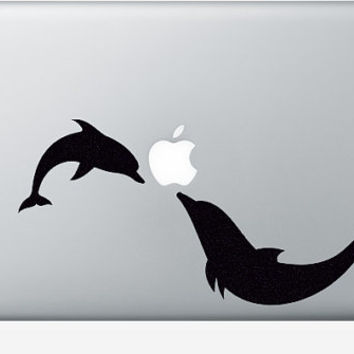 Dolphins Decor - Velvet Fabric Sticker - Dolphin Art Laptop Decal