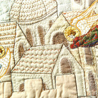 CITY OF ANGELS, Art Quilt, Home Decor, Appliqued Wallhanging, Medieval City
