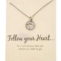 Shagwear Woman's Follow Your Heart Compass Heart Round Pendant Silver Tone Necklace