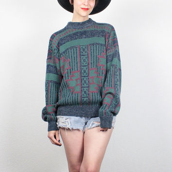 Vintage Boyfriend Sweater 1990s Pullover Southwestern Knit Jumper Cozy 90s Sweater Boho Blue Green Pink Soft Grunge Sweater M Medium L Large
