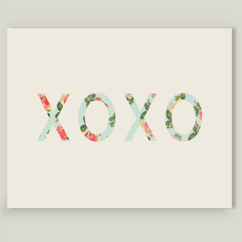 Floral XOXO Art Print by allysonjohnsoncreative on BoomBoomPrints