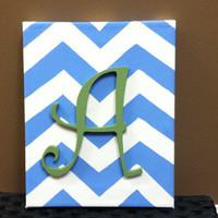 Inital Canvas Art/ Chevron Design/ Letter and color of choice/ Hand Painted/ 8x10 Artwork/ Nursery Decor/ Wedding, Birthday Gift