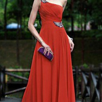 Chinese red wedding gown party dress one-shoulder Floor Length dress | mydresses - Wedding on ArtFire