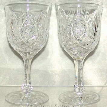 """Vintage Pair of Bohemian / Czech Crystal Cut Glass 6 3/4"""" Tall Large Wine / Water Goblets c.1970's (ref: 3176)"""