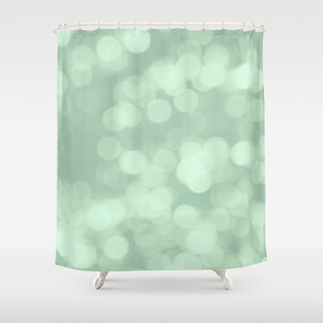 Never Let Them Dull Your Sparkle - Mint Shower Curtain by AlterEGO