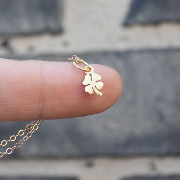 Clover necklace - 24K gold-dipped sterling silver four leaf clover charm . 14K gold-filled chain . good luck . teeny tiny charm jewelry