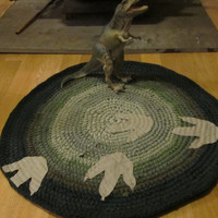 Custom Made Walking With Dinosaurs Crochet T-shirt Rug