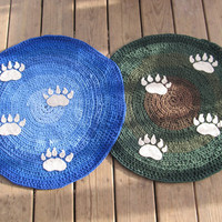 OOAK Custom Made Crochet Tshirt Round Rug with Fuzzy Bear Prints. Upcycled