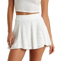 Lace High-Waisted Skater Skirt by Charlotte Russe - Ivory
