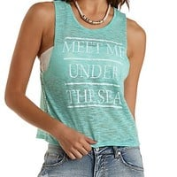Under the Sea Graphic Muscle Tee by Charlotte Russe - Green