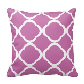 Pink and White Moroccan Quatrefoil